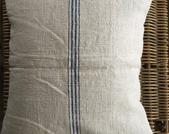 Vintage European Grain Sack Pillow Blue Stripe