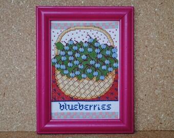 Vintage Cross Stitch Blueberries Cross Stitch in Magenta Pink Frame
