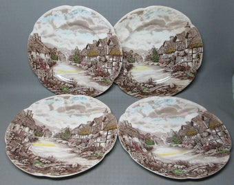 Johnson Brothers Old English Countryside 4 dinner plates ( crazing , one has stains )