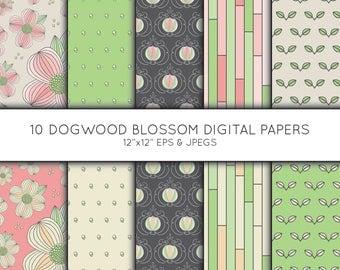 Dogwood Flower Digital Paper, Floral Seamless pattern, Scrapbook paper, digital paper pack, digital background, Vector Graphics