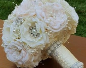 Custom Order Balance for Stacy... Ivory, David's Bridal Petal Fabric, Pearls, Rhinestones ... Flower Forever Bouquet.
