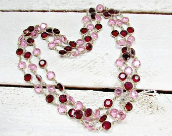 Vintage SWAROVSKI Crystal Necklace, Long Bezel-Set Crystal Necklace, Pink Red Crystal Necklace, Christmas Necklace, 1970s Vintage Jewelry