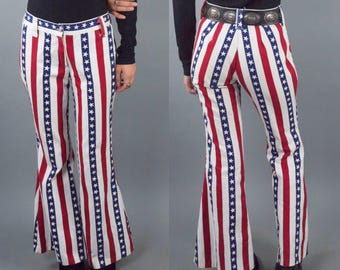 70s Stars and Stripes Americana Denim Bellbottom Pants
