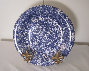 "Vintage Italian SpongeWare 10"" Dinner Plate - English Cottage Blue & White ISG Spatterware"