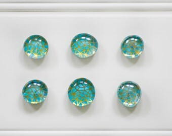 6 Glass Magnets - Rare Earth Magnets - Office - Decorative Magnets- Fridge Magnets- Gold Teal
