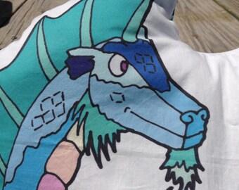 Xavier the dragon pillow Know Your Dragons dragon pixel low poly dragon original art pillow pal