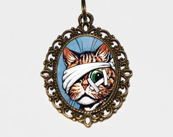 Bandaged Cat Necklace, Louis Wain, Animal Jewelry, Veterinary, Cats, Bronze Oval Pendant