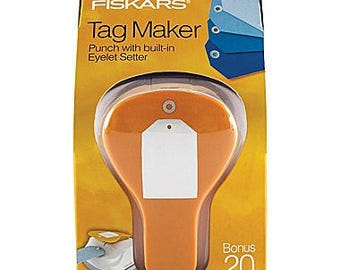 "CLEARANCE -- Fiskars ""SIMPLE"" Label Tag Maker with Built-in Eyelet Setter feature"