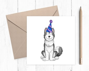 Husky Birthday Card, husky, birthday card, ideal gift for dog lovers