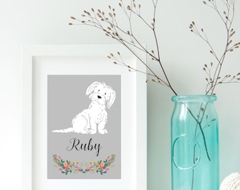 Dog Portrait - Personalised Maltese/Maltipoo Dog Art Print - pet portrait - Maltese - Maltipoo - dog art print - ideal gift for dog lovers