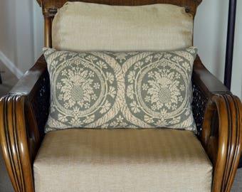 Sage Beige Floral LINEN Royal Hawaiian Pineapple 14x24 Decorative Pillow Cover Sham Case Pillowcase Home Decor Upscale High End Throw Accent