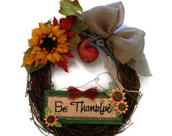 ON SALE Thanksgiving Door Handmade Wreath Grapevine Fall Rustic Autumn Home Decor Sunflower Gourd Floral Arrangement