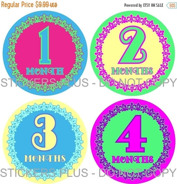 SALE Baby Month Stickers Plus FREE Gift Baby Girl Monthly Milestone Stickers    - Fleur De Lis Pink Green Purple Blue - 1-12 Months