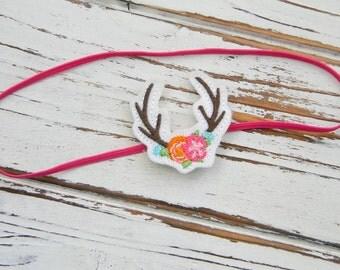 Baby Headband - Baby Deer headband - Felt Antlers Headband - Girls Antler Headband