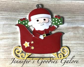 Santa Enamel Pendant, 46*45mm, Santa Sleigh Pendant, Christmas Pendant, Santa Clause, Christmas Necklace, Chunky Necklace, DIY Necklace