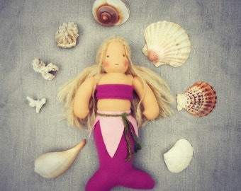 "SERENA- 12"" Waldorf inspired pink mermaid doll, blonde hair, Waldorf doll, made from completely natural materials"