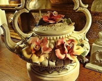 Vintage Tea Pot,Country Cottage Style, Floral Tea Pot, English Cottage Garden, Roses Tea pot
