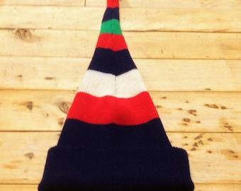 French 1970s Vintage Unisex Long Stocking Ski Elfe Hat - Colorful Stripes & Pom Pom - MADE IN FRANCE - New/Old Stock