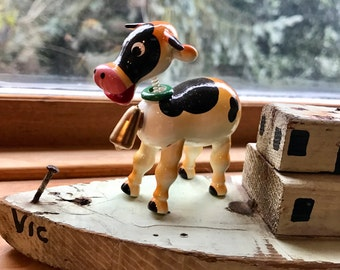 Vintage Goula Spain Orange Spotted Cow Horned Gold Bell New Old Store Stock