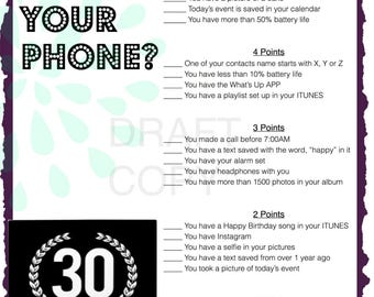 30th Birthday Party Game | Whats in your phone