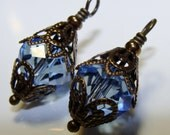 2 Vintage style large faceted pale blue crystal bead drop dangles for your diy jewelry Pamelia Designs