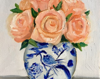 Original still life painting: Roses in Blue and White Vase, floral painting, peachy coral  fine art canvas
