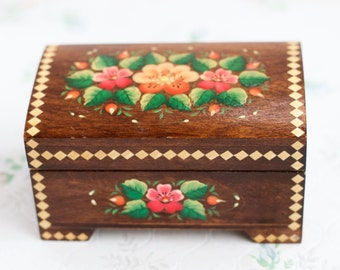 Vintage Jewelry Box - Flowery Wooden Chest - Boho Home Decor
