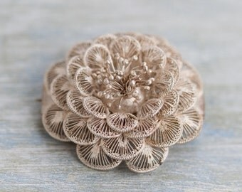 Silver Filigree Flower Lapel Pin - Antique Delicate Brooch