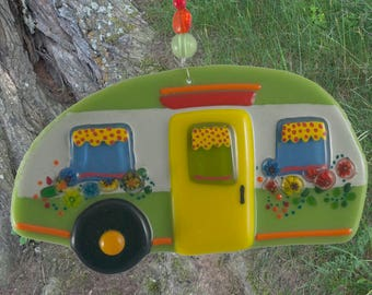Fused glass camper