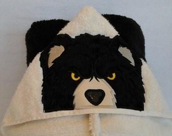 Black Bear Hooded Towel