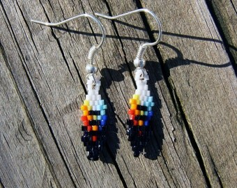 Handmade Native american style beaded feather earrings rainbow