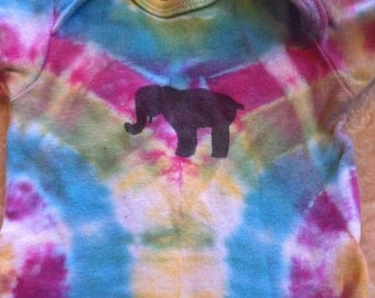 Tie dye hand painted elephant baby onesie hippie baby boho baby crunchy baby