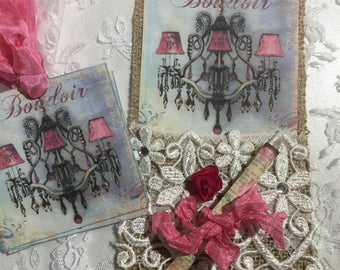 XL Exclusive Burlap Pocket Gift Tag Set Boudoir ( Set of 6 ) Scrapbooks, Journals, Gift Items, Collectables
