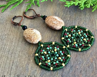 Healing Forest Earrings , green jade and jasper gemstones