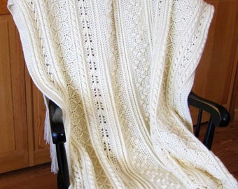 Fisherman Crochet Afghan in natural