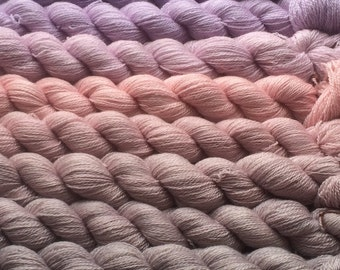 Gradient yarn set - cashmere/merino/mulberry silk, handdyed yarn lace 275 g- hand painted dyed shawl ombre - From lilac to silver rose.