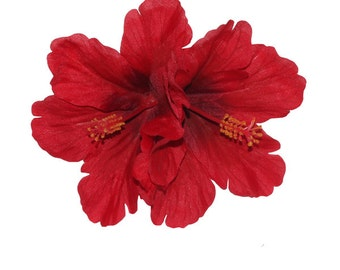 Double Red Hibiscus Tiki Hair Flower