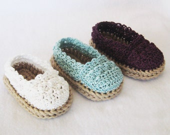 CROCHET PATTERN - Baby Girl Espadrille Shoes - booties slippers baby shoes PDF Instant Download