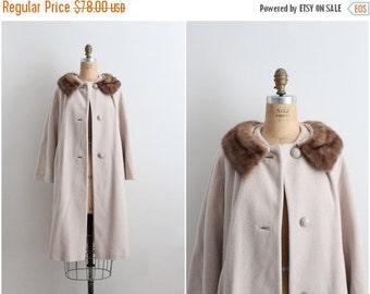 S a L E - 60s Oatmeal Coat / Cashmere Mink Collar Coat / Fur Collar Coat / Camel  1960 Coat / 60s Winter Coat