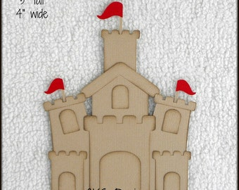 Die Cut Sand Castle Premade Paper Piecing Embellishment for Card Making Scrapbook or Paper Crafts