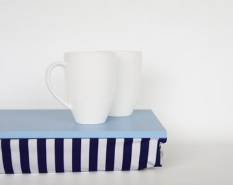 Serving tray with pillow, Lap desk, Laptop stand, Breakfast in Bed Tray - light blue with navy and white striped Pillow