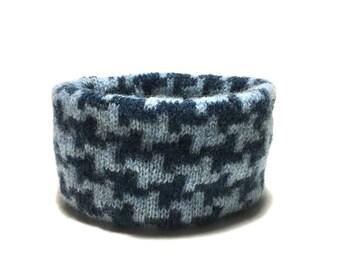 Medium Blue Wool Houndstooth Dog Neck Warmer, Designer Pet Puppy Accessory