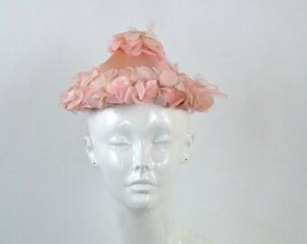 1960s Pink Pixie Hat, Flower Rim and Peak, Pink Floral Hat, Wedding/Bridal