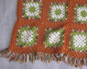 Vintage Crocheted Granny Square Afghan / Lap Blanket - rust, avacado green, cream