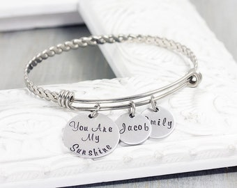 Personalized Bangle Bracelet - Personalized Jewelry - Hand Stamped Charm Bracelet for Mom - You Are My Sunshine