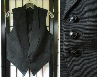 Vintage Black Faille Vest 1920s Mens Button Up Waistcoat 37 Chest Formal Small S Jazz Age Antique Possibly Silk Faille Shawl Lapel Collar