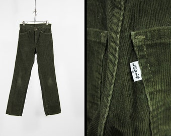 Vintage Levi's Forest Green Corduroy Pants 519 Straight Leg Cords Distressed Made in USA - 28 x 29