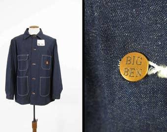 NOS Vintage Denim Chore Coat Big Ben Deadstock Dark Wash Indigo Made in USA - Size 46