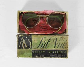 Vintage American Optical Safety Glasses 1940s Green Tint Lens Ful Vue Sunglasses