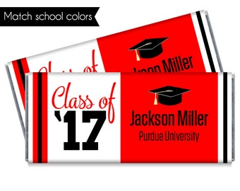 Set of 12 - Class of '17 Graduation Candy Bar Wrappers - Personalized 2017 Graduation Chocolate Favors - Match school colors